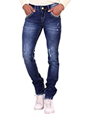 Kavis Mid Waist Dark Blue Colored Slim Fit Men's Jeans - B016WG2GWA