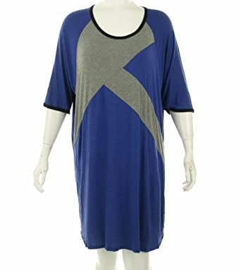 Ellen Tracy Jersey Knit Night Gown Blue L