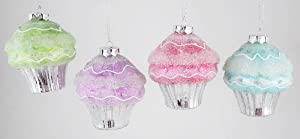 Pink Purple Lime Blue Cupcake Bakery Treats Christmas Holiday Ornaments Set of 4