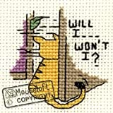 Mouseloft Mini Cross Stitch Kit Will I Won´t I Biscuit the Cat Collection