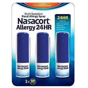 Nasacort Nasal Allergy Spray, 360 Sprays Total, Three 120 Spray Dispensers, 0.57 Fluid Ounces Each