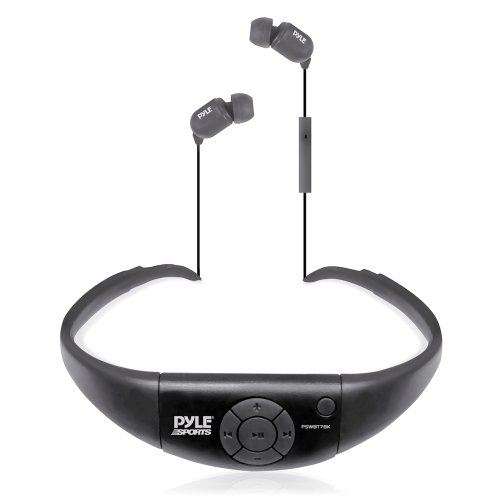 Pyle PSWBT7BK Active Sport Bluetooth 2-in-1 Waterproof Headset and Microphone for Hands-Free Call Answering (Black)
