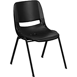 Flash Furniture HERCULES Series 661 lb. Capacity Black Ergonomic Shell Stack Chair with Black Frame and 16'' Seat Height by Flash Furniture