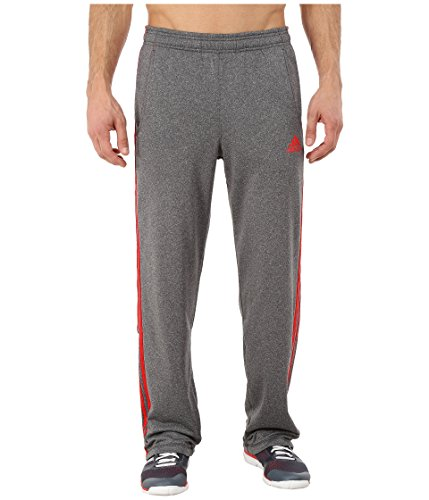 adidas-Performance-Mens-Ultimate-Fleece-3-Stripe-Pants-Solid-GreyVivid-Red-Large