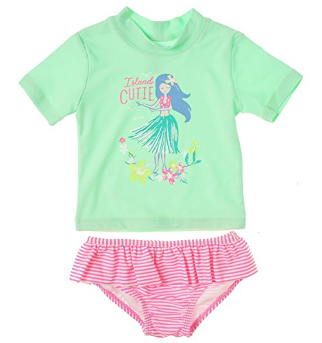 Carter 39 s baby girls 39 hula rash guard set mint 18 for Baby rash guard shirt