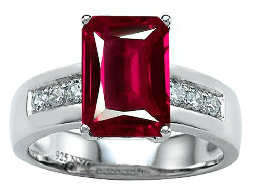 Star K Classic Octagon Emerald Cut 9X7 Engagement Ring Created Ruby Size 5