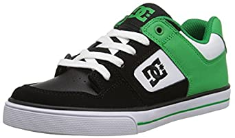 DC Pure Skate Shoe (Little Kid/Big Kid), Black/Green/White, 1 M US Little Kid