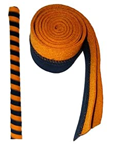 Chamois Hockey Stick Grips (Black & Orange)