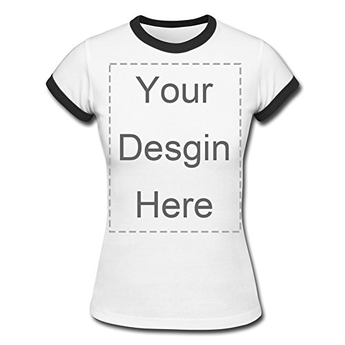 Custom Personalized Vintage Women's White Short Sleeve Ringer T Shirt Design Your Own Photo or Message Print Tee
