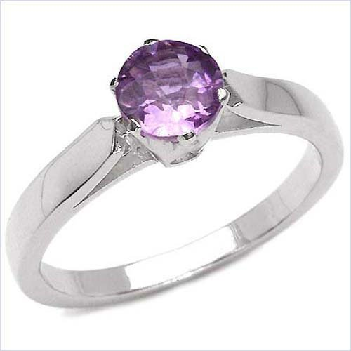 Attractive Quality Anti-Tarnish 925 Sterling Silver Ladies Ring with Amethyst 0.55 Carat