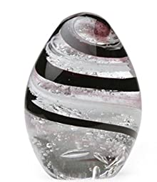 Dynasty Gallery Art Glass Silver Black Pink Swirl Egg Paperweight