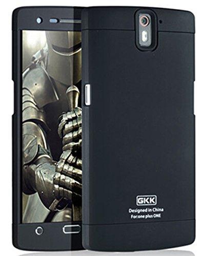 Heartly GKK Double Dip Flip Hard Shell Premium Bumper Back Case Cover For OnePlus One 4G - Black Black Black