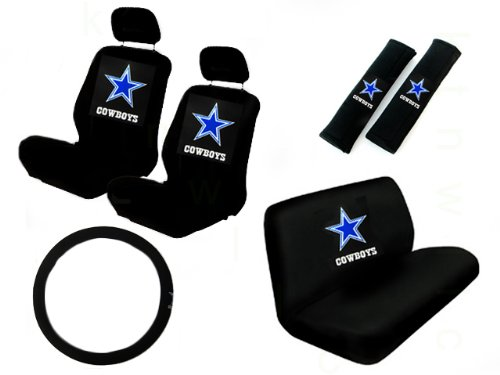 11 Piece NFL Auto Interior Gift Set - Dallas Cowboys - A Set of 2 Seat Covers, 1 Rear Bench Cover, 1 Steering Wheel, and A Set of 2 Seat Belt Pads