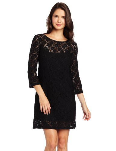 London Times Women's Shift Dress, Black, 14