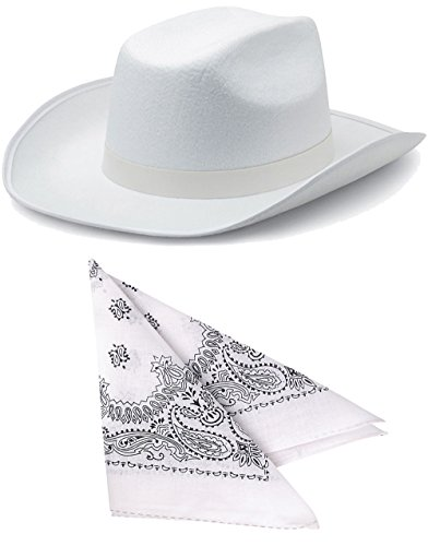 Child's White Cowboy Outlaw Felt Hat And Bandana Play Set Costume Accessory
