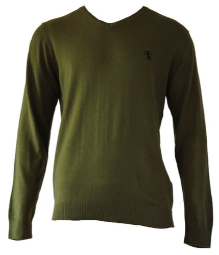 Mens V Neck Jumper. Size Large. Green.