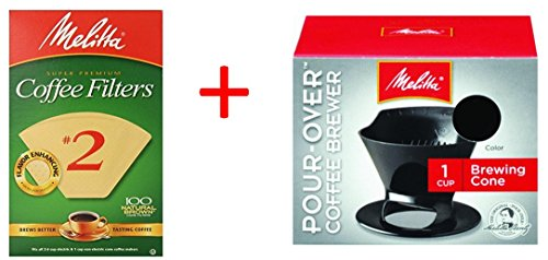 Bundle - Melitta Ready Set Joe Single Cup Pour Over Coffee Brewer Maker, Black + #2 Natural Brown Cone Coffee Filters 100-Count (Melitta Coffee Server compare prices)
