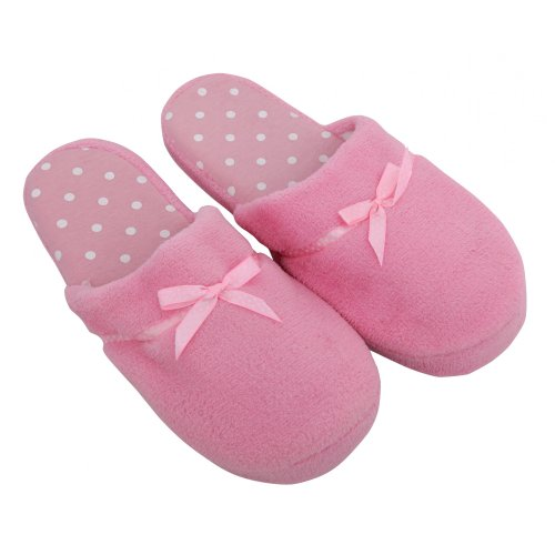 Cheap Ladies/Womens Slip-on Spot Design Indoor Footwear/Slippers with Bow (B009BFPYGK)