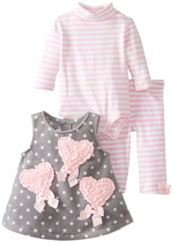 Bonnie Baby Baby-Girls Newborn Heart Fleece Jumperset, Pink, 3-6 Months front-1036501