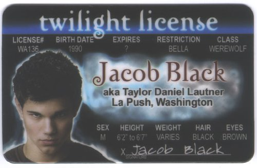 Twilight - Jacob Fun Fake ID License - 1