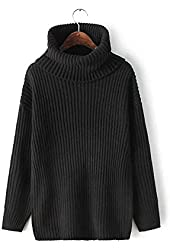 Simplee Apparel Women's Long Sleeve Turtleneck Knitted Oversized Pullover Sweater