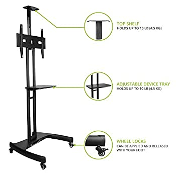 Kanto MTM65PL Mobile TV Stand with Mount for 37 to 65 inch Flat Panel Screens - Black