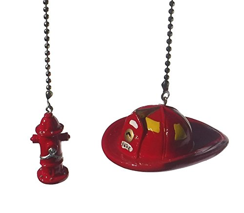 Fireman Hat & fire fighter water Hydrant SET of 2 - Ceiling fan pull light chain extender ornament (Ceiling Fans For Boys Rooms compare prices)
