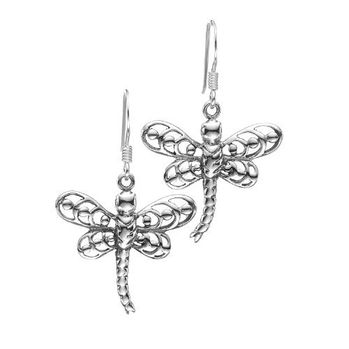 925 Oxidized Sterling Silver Charm Dragonfly Unique Style Dangle Earrings 20 mm- Nickel Free