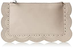 BCBG Scallop Perforated Leather Clutch, Sesame, One Size