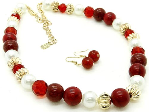 NECKLACE AND EARRING SET BEAD PEARL RED Fashion Jewelry Costume Jewelry fashion accessory Beautiful Charms