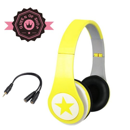 Mj8800 Yellow Big Star 40Mm Speaker Analog Tuning Folding Am/Fm Sport Radio Headset Wireless Earphones Headphones Music Mp3 Player Tf Card