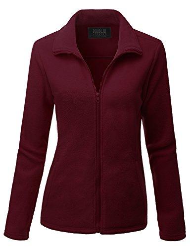 [Doublju Womens Comfortable Lightweight Long Sleeve Big Size Fleece Outer WINE,2XL] (Daria Costume)