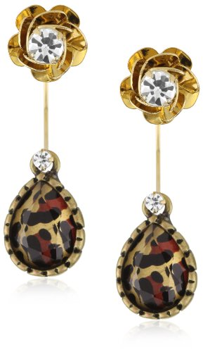 "Betsey Johnson ""Lovely Leopard"" Small Flower Drop Earrings"