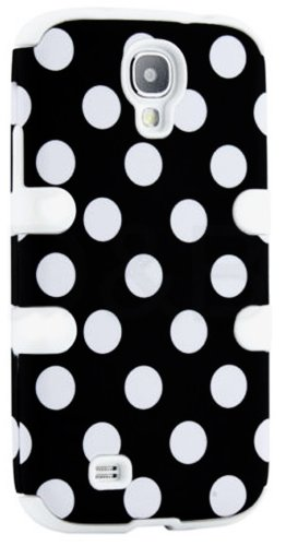 """Mylife (Tm) White - Black And White Polka Dots Design (3 Piece Hybrid) Hard And Soft Case For The Samsung Galaxy S4 """"Fits Models: I9500, I9505, Sph-L720, Galaxy S Iv, Sgh-I337, Sch-I545, Sgh-M919, Sch-R970 And Galaxy S4 Lte-A Touch Phone"""" (Fitted Front An"""