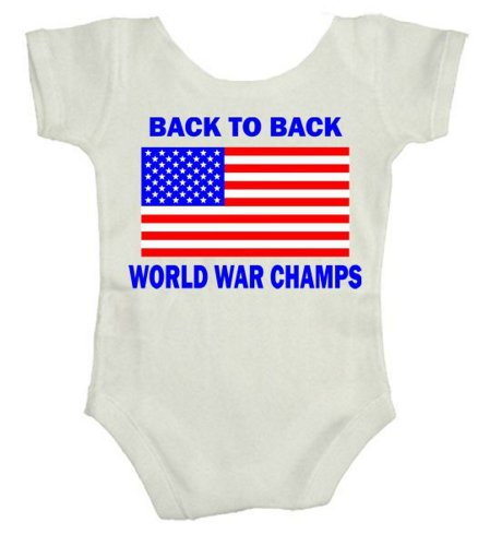 TeeShirtPalace Back to Back World War Champs Infant Body Suit White 6 Months