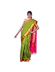 Urvashi Green Cotton Silk Saree (Urvasi 057)