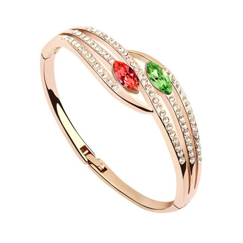 Dreamslink Fashion Jewellery 18K Rose Gold Plated Bangle Bracelet Green Color Swarovski Elements Austria Crystal Big Crystal Inlay Silky Sense Bracelet 91898