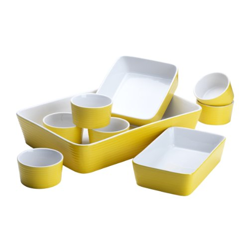 9 Piece Embossed Ring Bakeware Set Color: Yellow