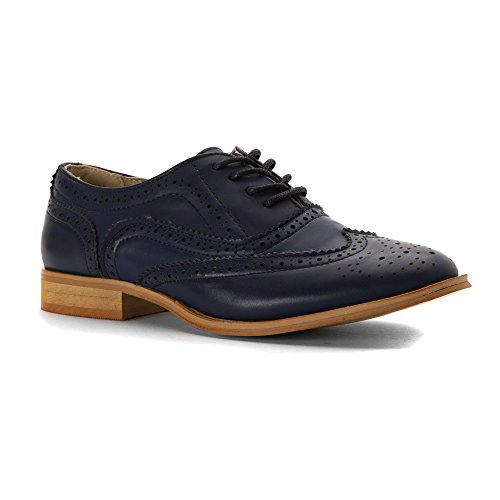 Wanted Shoes Womens Babe Oxford, Blue, 8 M US