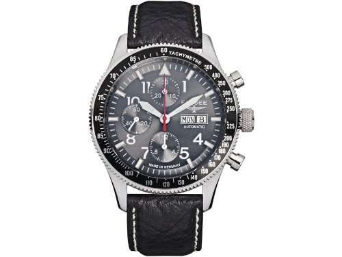 ELYSEE Made in Germany Executive I 80530GREY 44mm Automatic Stainless Steel Case Black Calfskin Synthetic Sapphire Men's Watch
