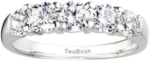 Silver Moissanite Classic Shared Prong Anniversary Wedding Ring with Charles Colvard Created Moissan