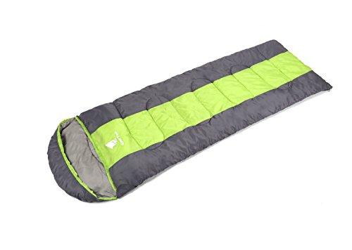 GEERTOP® Sacco a Pelo Busta Leggera 3-Stagione 5℃ - 12℃ - 220 x 75 cm - per Campeggio All'aperto Trekking - Con Carry Bag (Verde, Media)