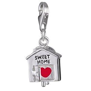Vinani Damen-Charm Anhänger Haus mit Schlüssel Schriftzug SWEET HOME emailliert Sterling Silber 925 HHMS