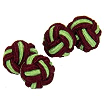 Maroon & Lime Green Silk Knot Cufflinks | Cuffs & Co
