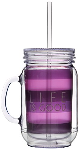 Life Is Good Lig Stripes Mason Mug And Straw (Perfect Plum), One Size front-420636