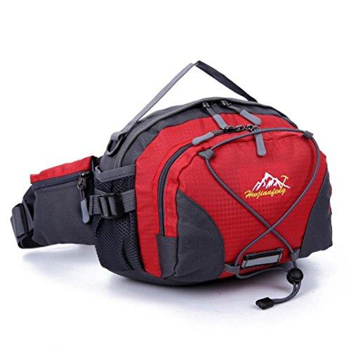 LHWY cintura da corsa impermeabile Marsupio Marsupio Marsupio Campeggio Sport Escursionismo borsa a tracolla, unisex, rosso