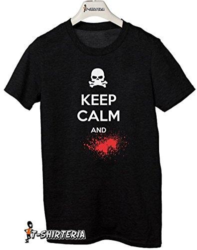 t-shirt-Keep-calm-and--todas-las-tallas-by-tshirteria-Camiseta-para-mujer-negro-TallaXL-9-11-aos