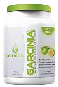 Pure Garcinia Cambogia Extract Pure - 1500mg Per Day As Seen On Dr Oz - Highest Grade Quality 65 Hca For Maximum Absorption Benefits Infused With Chromium Picolinate The Most Potent Diet Supplement - Fully Guaranteed By Terra Labs by Terra Labs