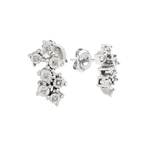 DiAura Sterling Silver Diamond-Accent Zig-Zag Cluster Post Earrings