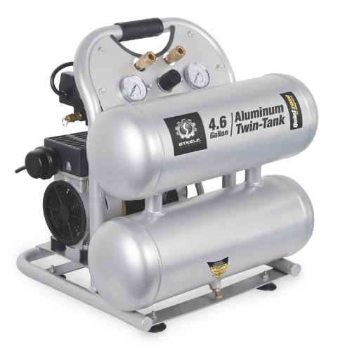 Steele Products SP-CE155QT 4.6 Gallon Aluminum Twin-Tank Quiet Air Compressor